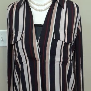 Ann Taylor Mixed Striped Popover Camp Shirt